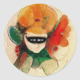 The Masked Anemone by Odilon Redon Round Stickers