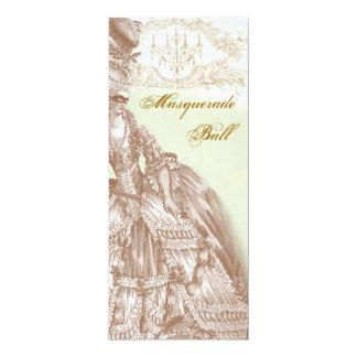 The Masquerade Ball,  Menu teal and gold 4x9.25 Paper Invitation Card