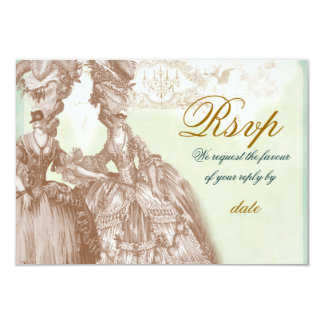 The Masquerade Ball ,RSVP  teal and gold Card
