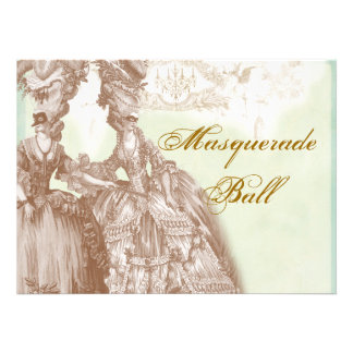 The Masquerade Ball teal and gold Custom Announcements