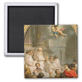 The Mass of St. Basil (oil on canvas) 2 Inch Square Magnet