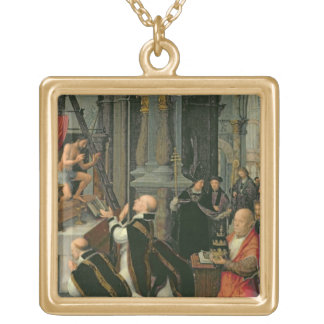 The Mass of St. Gregory (oil on canvas) Square Pendant Necklace