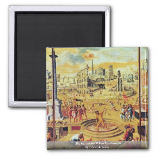 The Massacre Of The Triumvirate By Caron Antoine 2 Inch Square Magnet