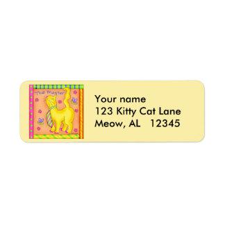 The Master Cat  Return Address Label Yellow
