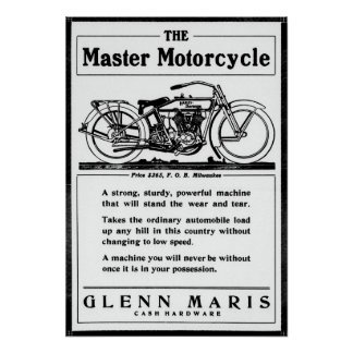 THE MASTER MOTORCYCLE 1916 POSTER