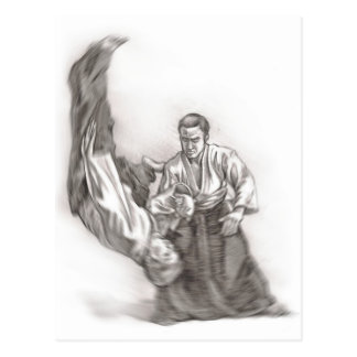 The master of an aikido - use of energy of the cen postcard
