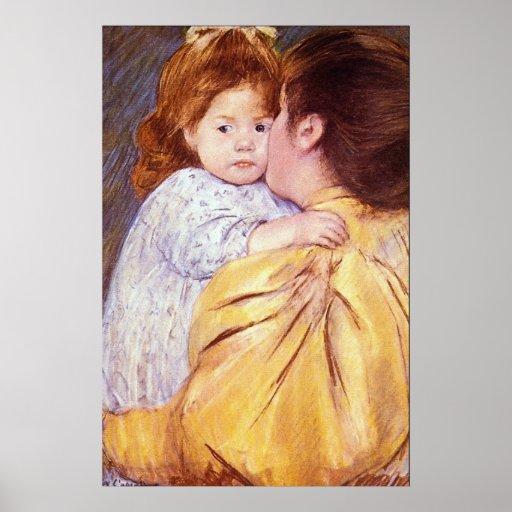 The Maternal Kiss by Mary Stevenson Cassatt Poster