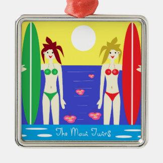 The Maui Twins Square Metal Christmas Ornament