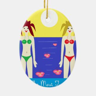 The Maui Twins Double-Sided Oval Ceramic Christmas Ornament