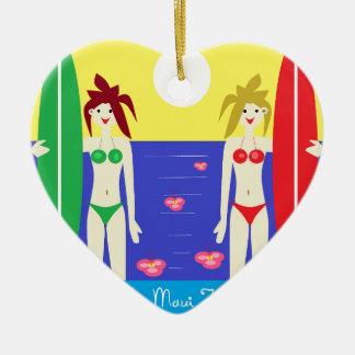 The Maui Twins Double-Sided Heart Ceramic Christmas Ornament