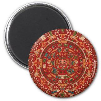 The Mayan / (Aztec) calendar wheel 2 Inch Round Magnet
