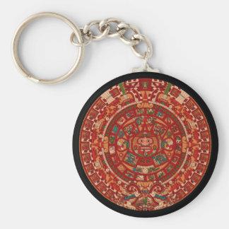 The Mayan / (Aztec) calendar wheel Basic Round Button Keychain