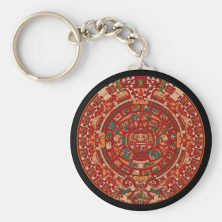 The Mayan / (Aztec) calendar wheel Basic Round Button Keychain