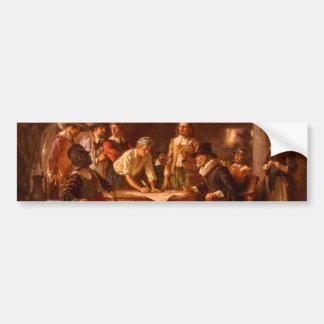 The Mayflower Compact by Jean Leon Gerome Ferris Bumper Sticker