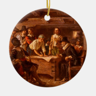 The Mayflower Compact by Jean Leon Gerome Ferris Double-Sided Ceramic Round Christmas Ornament