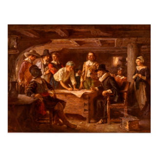The Mayflower Compact by Jean Leon Gerome Ferris Postcard