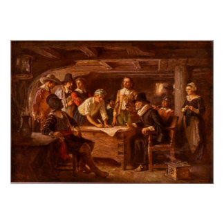 The Mayflower Compact by Jean Leon Gerome Ferris Poster