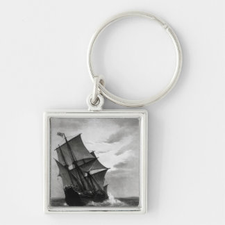 The Mayflower Silver-Colored Square Keychain