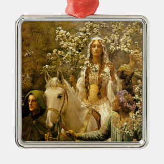 The Maying of Guinevere Square Metal Christmas Ornament