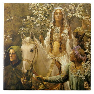 The Maying of Queen Guinevere by John Collier Large Square Tile
