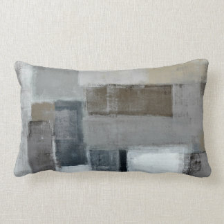 'The Maze' Grey and Brown Abstract Art Pillow