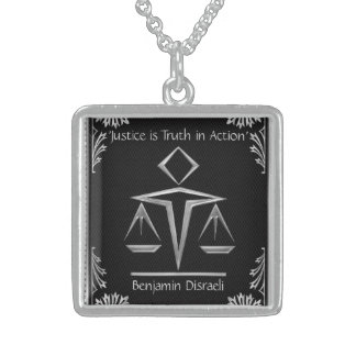 The Meaning of Justice - Silver+Black-Personalized Sterling Silver Necklace