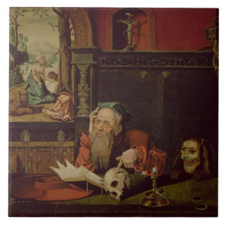 The Meditation of St. Jerome (oil on panel) Tile