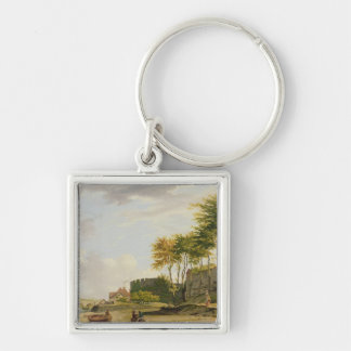 The Medway at Rochester, 1776 (oil on canvas) Silver-Colored Square Keychain