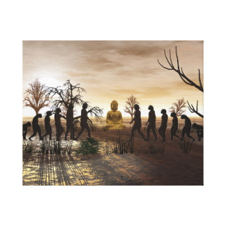 The Meeting and Budah Surreal Wrapped Canvas