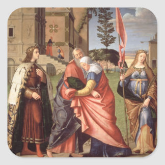 The Meeting at the Golden Gate with Saints, 1515 ( Square Sticker