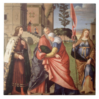The Meeting at the Golden Gate with Saints, 1515 ( Large Square Tile