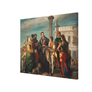 The Meeting Between Titian (1488-1576) and Verones Canvas Print