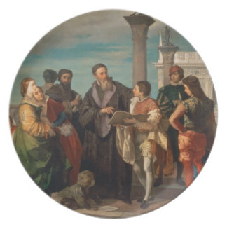 The Meeting Between Titian (1488-1576) and Verones Plate