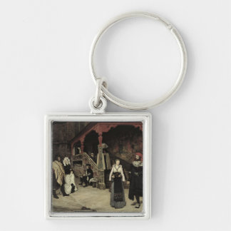 The Meeting of Faust and Marguerite, 1860 Silver-Colored Square Keychain