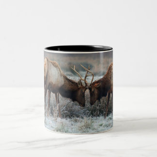 The Meeting of the Bulls  - Roosevelt Elk Two-Tone Coffee Mug