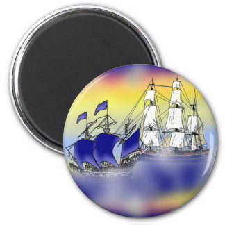 The Meeting of Two Tall Ships Fridge Magnet