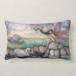 The Meeting Place Fairy and Swan Fantasy Art Throw Pillows
