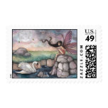 The Meeting Place Fairy and Swan Fantasy Art Postage Stamp