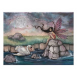 The Meeting Place Fairy and Swan Fantasy Art Print
