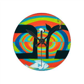 The Mem Letter - Hebrew Alphabet Round Wall Clocks