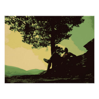 the men and the tree  in the hill poster