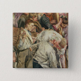The Men, left panel from The Age of the Worker Pinback Button