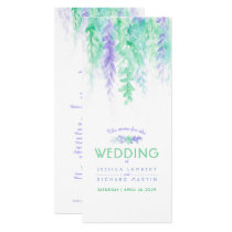 The menu blue cascading green vine art watercolor card