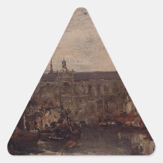 The Merchant Dock by Eugene Boudin Triangle Sticker