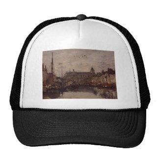 The Merchant Dock by Eugene Boudin Trucker Hat