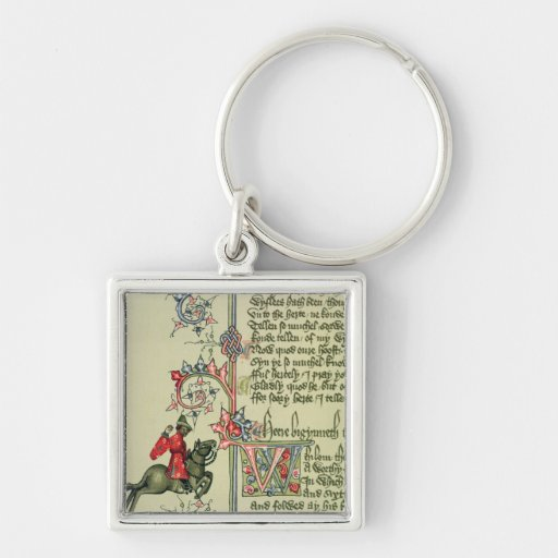 The Merchant, facsimile detail from Silver-Colored Square Keychain