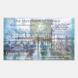 The Merchant of Venice Shakespeare quotes Rectangular Sticker