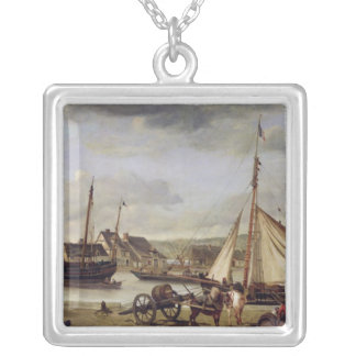 The Merchant's Quay at Rouen, 1834 Silver Plated Necklace