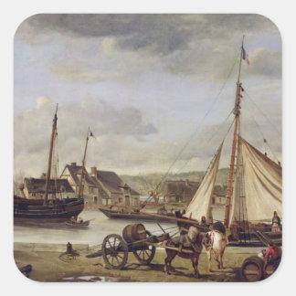The Merchant's Quay at Rouen, 1834 Square Sticker