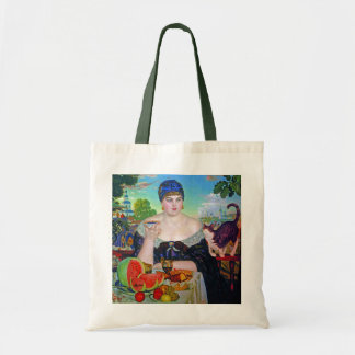 The Merchant's Wife & Cat by Boris Kustodiev Tote Bag